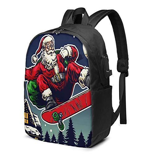 Laptop Rucksack Business Rucksack für 17 Zoll Laptop, Charakter Santa Claus Ride Skateboard Schulrucksack Mit USB Port für Arbeit Wandern Reisen Camping, für Herren Damen