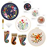 3 Pack Embroidery Starter Kit with Pattern and Instructions, Cross Stitch Beginner Kit Include 3 Embroidery Cloths with Floral Pattern, 3 Plastic Embroidery Hoops, Color Threads and Tools Kit