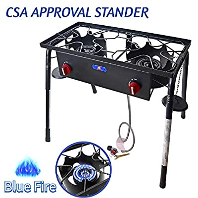 ARC USA,A8 150,000 BTU Outdoor Double Burner High Pressure Cast Iron Propane Burner, Portable Gas Cooker, Camping 2 Cooking Stove,Adjustable 0-20 PSI CSA Regulator and Hose,Perfect for Outdoor Cooking