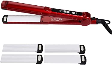 Hair Straightener Curler Waver Ceramic Coated Flat Iron Professional Travel 3 in 1 Hair Styler Waving Tool LED Display and Adjustable Temperature Control,Red