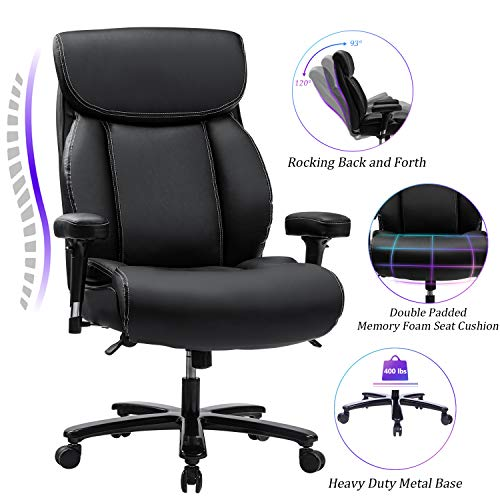 REFICCER Big & Tall 400lb Office Chair High Back Executive Desk Computer Task...