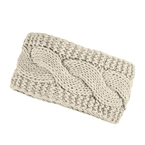 Neverless® warmes Damen Strick-Stirnband Fleece Futter Zopfmuster Ohrenschutz Haarband Knite Headband beige