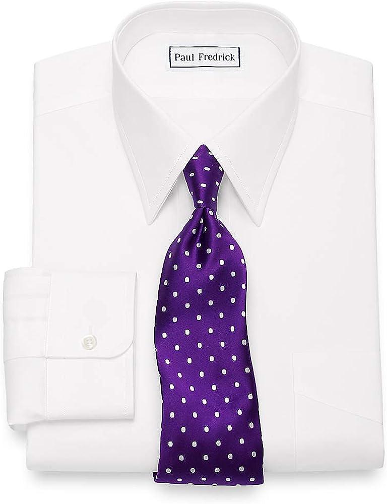 Paul Fredrick Men's Slim Fit Egyptian Cotton Straight Collar Dress Shirt