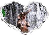 Babyelefant am Wasserfall Herzform im 3D-Look , Wand- oder Türaufkleber Format: 92x64,5cm, Wandsticker, Wandtattoo, Wanddekoration