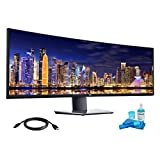 Dell U4919DW UltraSharp 49 Inch (5120 x 1440) 5K QHD Curved Monitor with HDMI, DisplayPort, and USB Ports with HDMI Cable and LCD Cleaning Kit (Renewed)