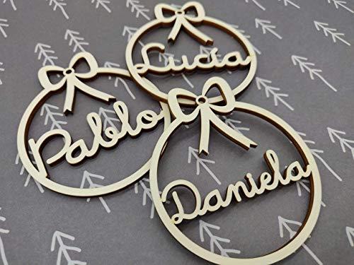 Bolas de navidad de madera personalizadas cordel incluido Adornos navideños Ornamento Decoraciones colgantes de Navidad para el árbol de Navidad
