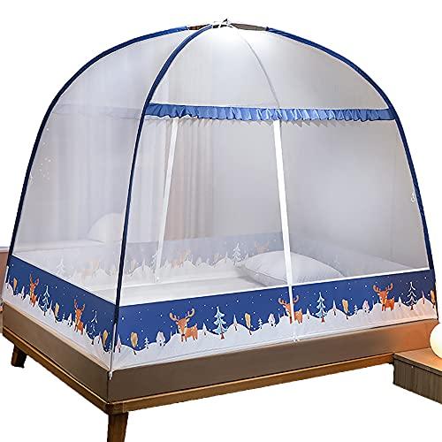 73FACAI Yurt Mosquitera Anti Mosquito Bed Carpa 2 Puertas Independiente Plegable Red de Fondo Emergente Grande para Viajes al Aire Libre,Navy,6feet