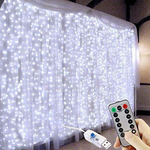 FANSIR 300 LED Curtain Lights, USB Window Lights, 3m x 3m 8 Modes Remote Control Fairy Light Waterproof LED Copper String Lights for Outdoor Indoor Wedding Party Garden Bedroom Decoration, Cool White