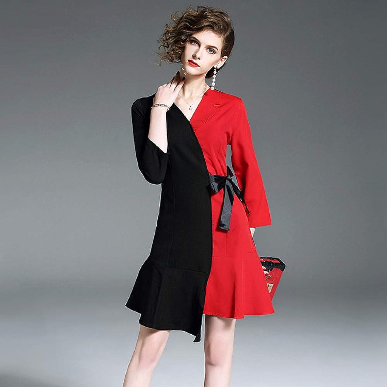 Cxlyq Dresses V Collar A Word Dress Waist Irregular Small Skirt was Thin