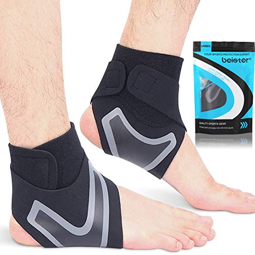 Beister 1 Pair Ankle Support Breathable Neoprene Compression Ankle Brace for Men and Women, Elastic Sprain Foot Sleeve for Sports Protect, Arthritis, Plantar Fasciitis, Achilles tendonitis, Recovery