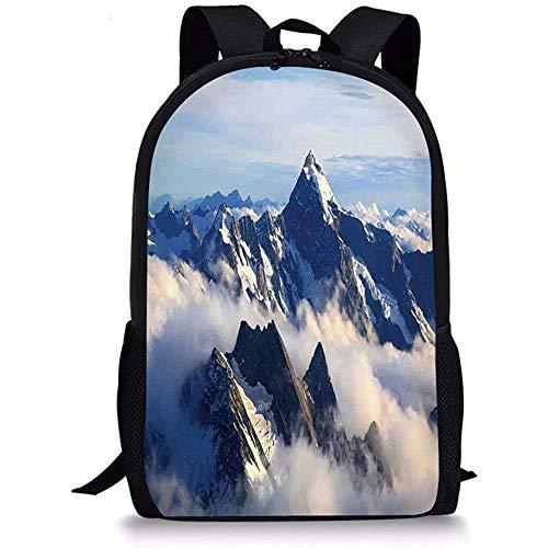 Hui-Shop Sacs d'école décor d'appartement, Paysage de Hautes Montagnes majestueuses avec Cook Peak avec Photo de Terre Nuage Nuage de Brume, Blanc Bleu Gris