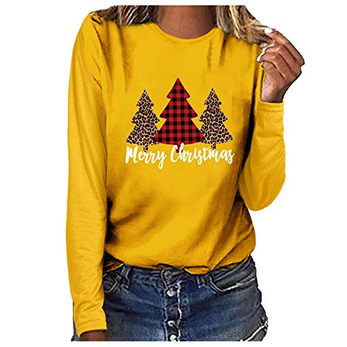 Women's Letter T-Shirt Leopard Plaid Print Xmas Tree Tops Casual O Neck Long Sleeve Graphic Pullover Holiday Club Party Personalised Tee Shirts Color Block Blouse Merry Christmas Yellow