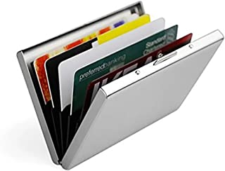 Feisuo Ultra Thin Aluminum Metal Wallets - RFID Blocking Credit Card Wallet Holder for Men & Women - Best Card Protector with 6 PVC Slots and Durable Stainless Steel Latch
