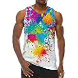 Goodstoworld Gay Pride Tank Tops Mens Colorful Paint Shirt Funny Pattern 3D Print Gym Juniors Boys Sleeveless Graffiti Tees Sports Workout Party Undershirt