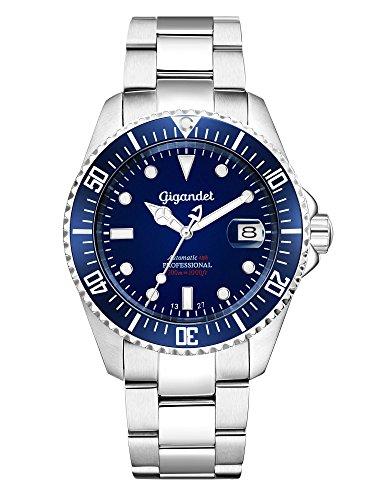 Gigandet SEA GROUND® Montre Homme Automatique Plongée Analogique Bleu Argent G2-009