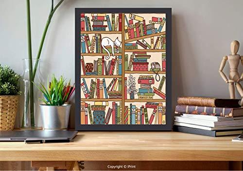 AmorFash №10032 Frame Art Wall,Cat Lover Decor,Nerd Book Lover Kitty Sleeping Over Bookshelf in Library Academics Feline Cosy Boho Design,Multi, Best for Gifts