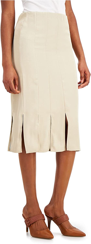 Alfani Womens Beige Slitted Midi Pencil Skirt Size XS