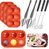 3 Chocolate Candy Dipping Tools and 2 Culinary Decorating Spoons with 4 Semi Sphere Silicone Mold 6 Cavities Baking Mold for Making Chocolate Cake Candy Dessert Supplies (Red)