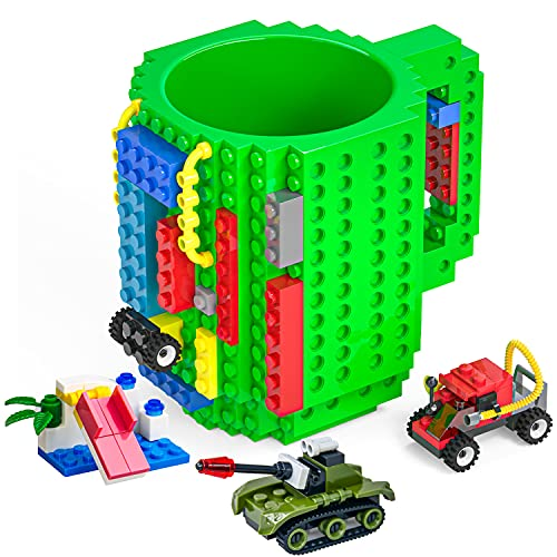 DAYMOO Build-On Brick Mug with Handle,with 3 Packs of Blocks at Random,Creative DIY Building Blocks Cup,Novelty Coffee Mugs Compatible with Lego,Birthday Party Cups for Kids,Green