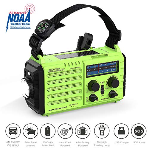 OnLyee Hand Crank Radio, Emergency Weather Solar Portable Radio 5-Way Power Sources AM/FM/SW/NOAA Weather Radio with LED Flashlight, Reading Lamp, 2000mAh Power Bank USB Phone Charger, SOS Alarm and