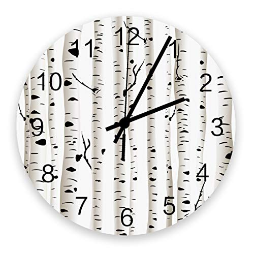 12 Inch Round Wooden Wall Clock, Birch White Illustrati Forest Non Ticking Silent Wall Clock, Quartz Battery Operated Easy to Read Decorative Clock for Living Room/Bedroom