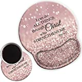 Mouse Pad Wrist Rests Support, Non Slip Mousepads with Gel Cushion Wrist Support, & Cute Coasters Bible Philippians 4-13 I can do All Things Through Christ who Strengthens me(Rose Gold Glitter)
