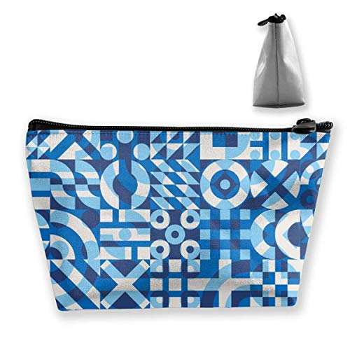Seamless Blue and White Irregularly Covered Personalized Trapezoidal Storage Bag Ladies Waterproof for Carrying Travel