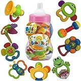 *fiouni Joguines de mossegador per a bebè sonall Conjunt Primers sonalls per a bebè Conjunt de Regal per a bebè bebès Primer bebè 9 Peces (Rosa)