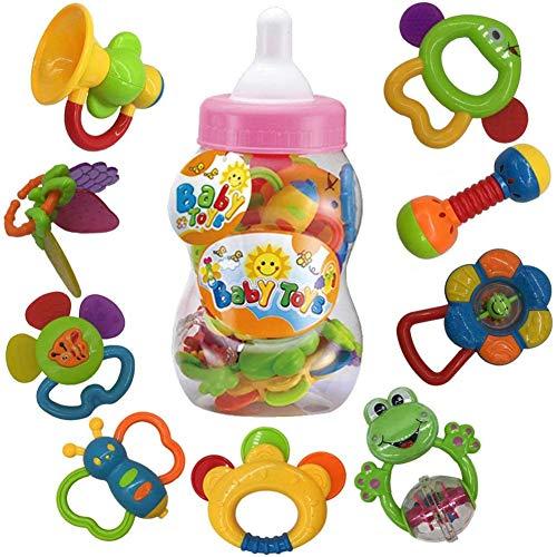 fiouni Juguetes de mordedor para bebé sonajero Conjunto Primeros sonajeros para bebé Conjunto de Regalo para bebé bebés Primer bebé 9 Piezas (Rosa)