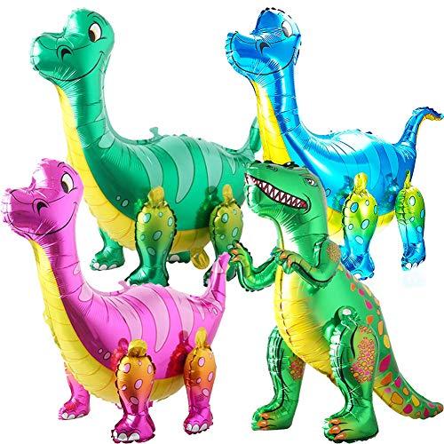 BESTZY 3D Dinosaurier Folienballon, Dinosaurier Ballons Wiederverwendbare Heliumballons, Folien Ballons für Kinder Geburtstag Dinosaurier Party(4 Stücke)