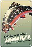トラウトフライフィッシングカナダ太平洋鉄道ティンサイン装飾ヴィンテージ壁金属プラークカフェバー映画ギフト結婚式誕生日警告のためのレトロな鉄の絵
