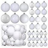 White Christmas Ball Ornaments for Christams Decorations - 36 Pieces Xmas Tree Shatterproof Ornaments with Hanging Loop for Holiday and Party Deocation (Combo of 6 Styles in 3 Sizes)