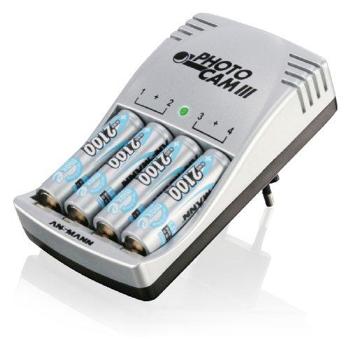 Ansmann 5007093 - PhotoCam III cargador de enchufe para 2 o 4 baterías Mignon AA/Micro AAA incl. 4x baterías Mignon AA tipo 2100mAh maxE