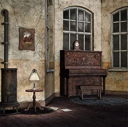 6x6ft Retro Saloon Hintergrund Ländliche Lounge Interieur Riss Wand Holzboden Vintage Klavier Old Herd Ofen Lampe Foto Hintergrund Foto Studio Requisiten