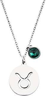 KUIYAI Stainless Steel Zodiac Sign and Birthstone Charm Necklace Bracelet
