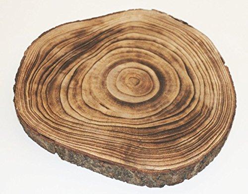 Holzscheibe GEFLÄMMT 28x3cm rund Baumscheibe Holz Scheibe Baum Scheibe Basteln Holzscheiben Dekoteller Dekoschale Unterleger Untersetzer geflammt Dekoobjekt