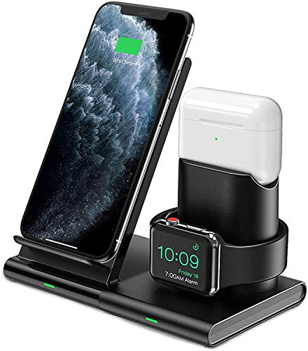 Hoidokly Wireless Charger, 3 in 1 Wireless Charging Station Dock for Airpods Pro/2, AppIe Watch 6/SE/5/4/3/2, Fast Charging Stand for iPhone 12 Pro Max/12 Mini/11/XR/XS/X/8/8 Plus (NO QC 3.0 Adapter)