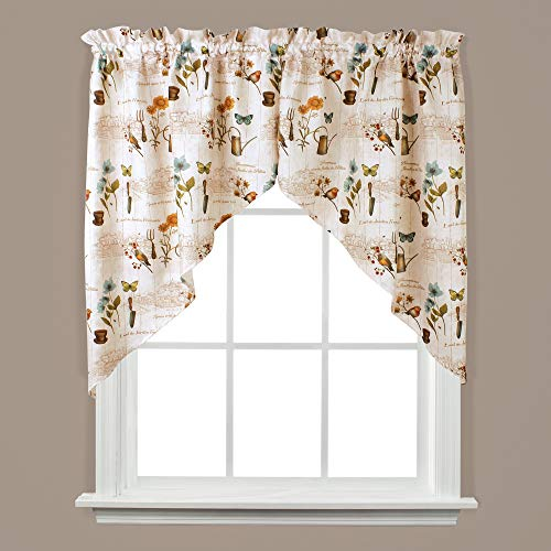 SKL Home by Saturday Knight Ltd. Le Jardin Swag Valance Pair, Multicolored, 57 inches x 36 inches