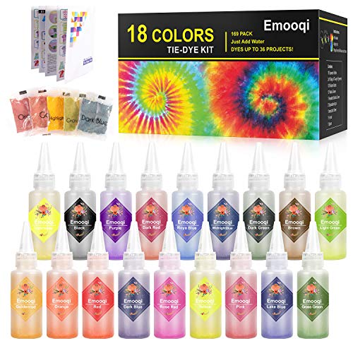 Tie Dye Kits, Emooqi 18 Colours Permanent All-in-1 Tie Dye Set with 36 Bag Pigments, Rubber Bands, Gloves, Apron and Table Covers for Craft Arts Fabric Textile Party DIY Handmade Project