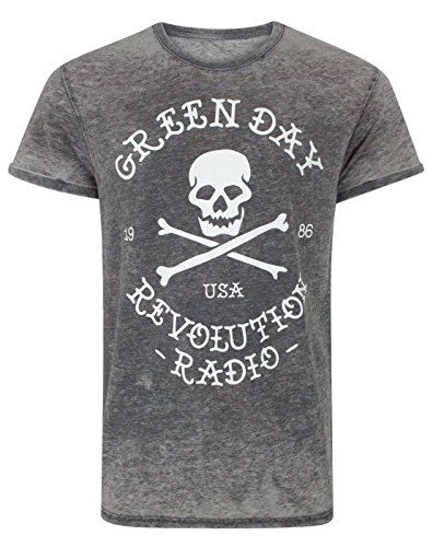 Green Day Revolution Radio Skull Cross Bones Men's Burn Out T-Shirt