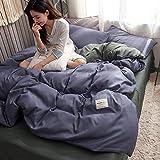 AMDXD Juego de 4 fundas de almohada de mezcla de algodón, color liso, suave, cómoda y transpirable (1 funda de edredón de 150 x 200 cm, 1 sábana de 180 x 230 cm, 2 fundas de almohada de 48 x 74 cm).