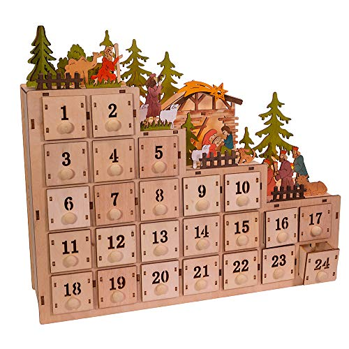 Kurt S. Adler 13-Inch Battery-Operated Light-Up Nativity Scene Advent Calendar, Multi