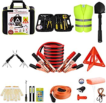 YITAMOTOR Car Emergency Kit Roadside Toolkit with 10ft Jumper Cables