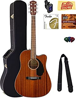 Fender CD-60SCE Dreadnought Acoustic-Electric Guitar - All Mahogany Bundle with Hard Case, Tuner, Strap, Strings, Picks, A...