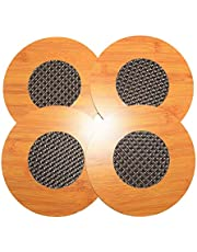 Natural Bamboo Coaster Round Pad For Table Protection 4 Pcs Set (Big)