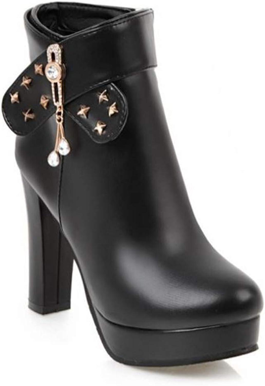 BeautyOriginal Women's Round Toe Chunky Heel Platform Side Zipper Ankle Booties Boots
