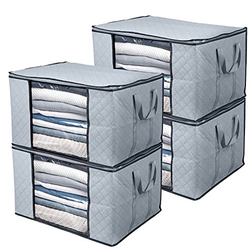 BoxLegend Bolsa de Almacenamiento de Ropa Organizador de Gran Capacidad con asa Reforzada Tela Gruesa Ventana Transparente Grande para edredones, Mantas, Ropa de Cama, Paquete de 4, 90L