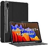 ProCase Funda para Galaxy Tab S7 Plus 12.4' 2020 SM-T970 T975 T976 T978 con Soporte para S Pen, Estuche Folio Delgado para Galaxy Tab S7+ 2020 12.4 Pulgadas T970 T975 T976 T978 - Negro