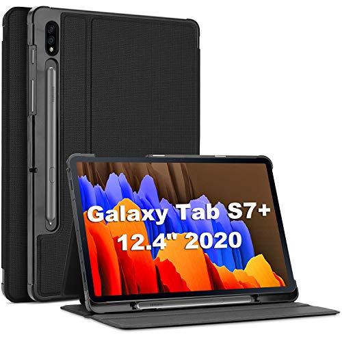 ProHülle Buchdeckel Hülle für Galaxy Tab S7 Plus 2020 12.4 Zoll(SM-T970/T975/T976/T978),Klapp Leicht Schutzhülle Urban Folio Hülle Smart Cover,Multi Ansichtsmodus+Auto Schlaf/-Wachfunktion -Schwarz