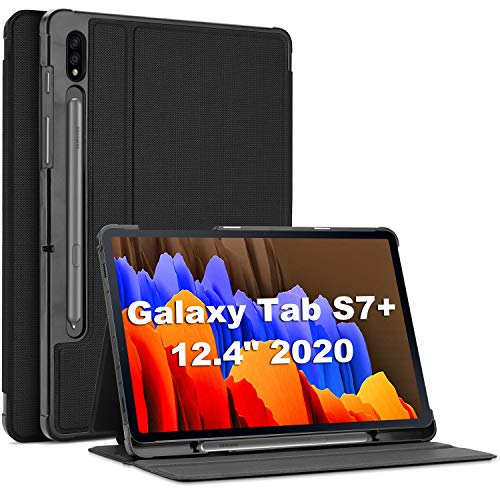 ProCase Galaxy Tab S7 Plus 12.4 Case 2020 with S Pen Holder, Slim Stand Protective Folio Case Smart Cover for Galaxy Tab S7 Plus 2020 Release 12.4 Inch SM-T970/T975/T976 -Black